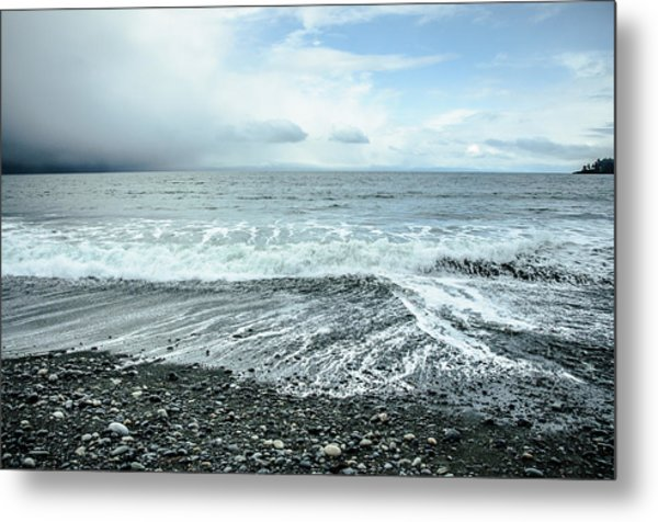 Moody Waves French Beach Metal Print