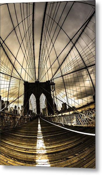 Moody Brooklyn Bridge Metal Print by Chris Halford
