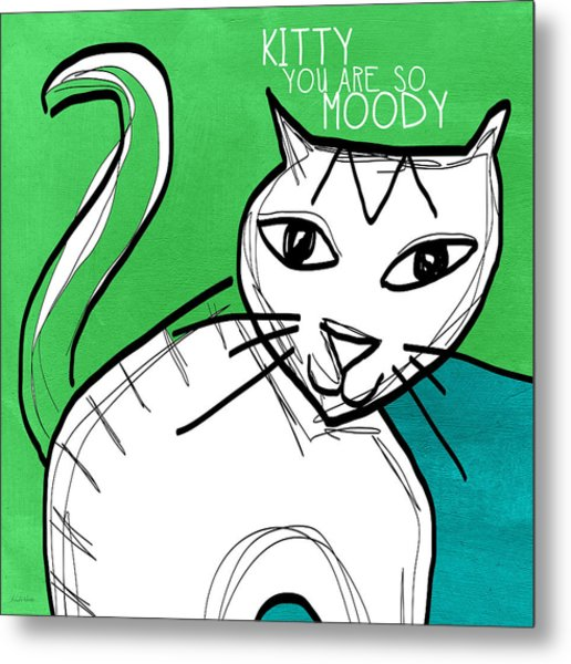 Moody Cat- Pop Art Metal Print