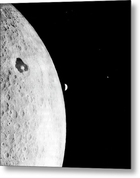 Moon And Earth From Lunar Orbiter 1 Metal Print