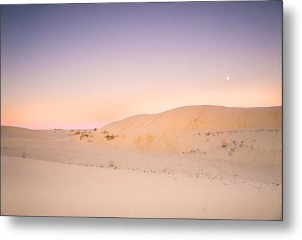 Moon And Sand Dune In Twilight Metal Print