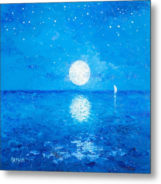 Moon And Stars Metal Print
