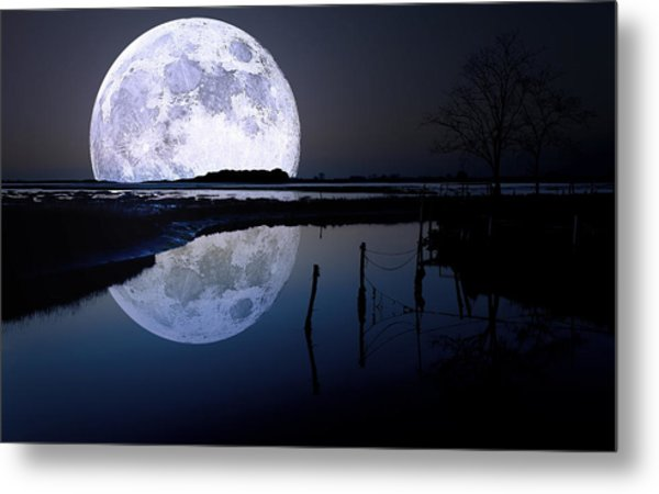 Moon At Night Metal Print