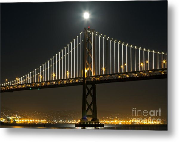 Metal Print featuring the photograph Moon Atop The Bridge by Kate Brown