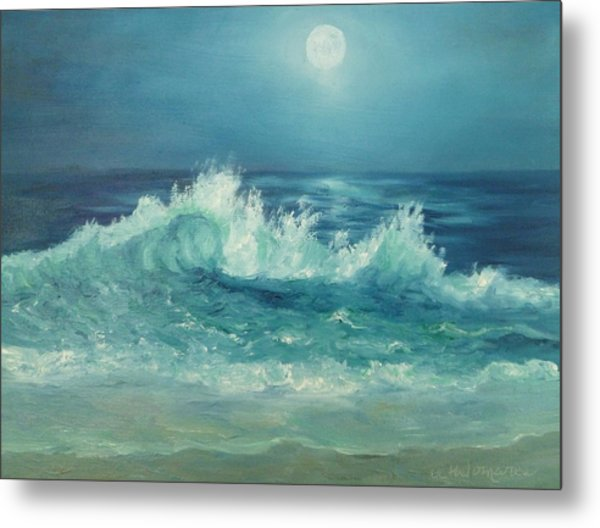 Moon Beach Painting Metal Print