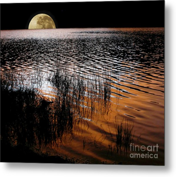 Moon Catching A Glimpse Of Sunset Metal Print