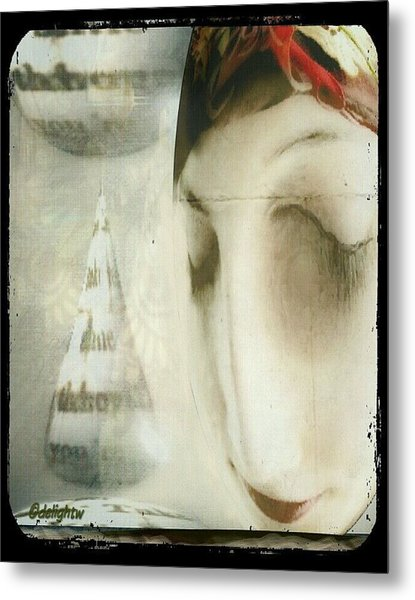Metal Print featuring the digital art Moon Face by Delight Worthyn
