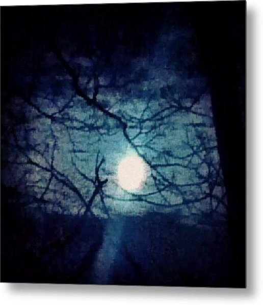 Moon Framed By Tree Branches Metal Print