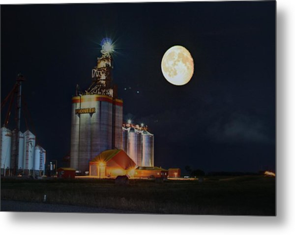 Moon Glow Over Elevator Metal Print