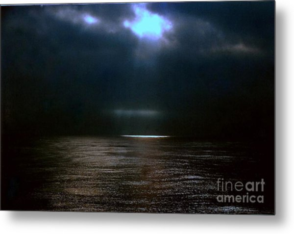 Moon Glow Over The Gulf Of Mexico Metal Print by Michael Hoard