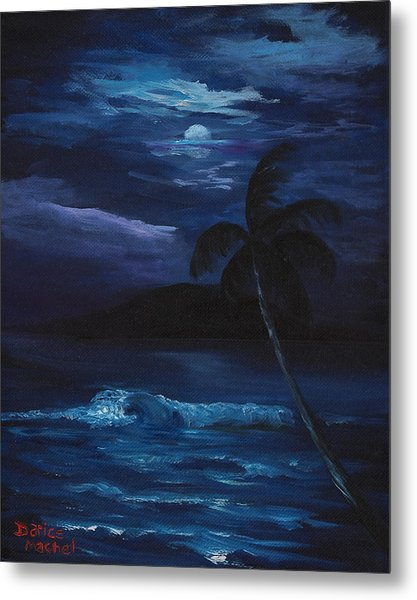 Moon Light Tropics Metal Print