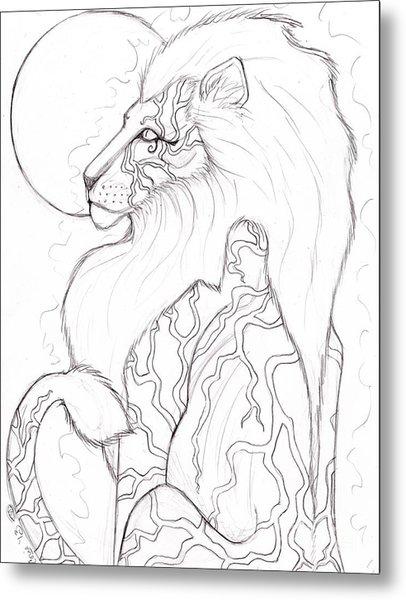 Moon Lion Sketch Metal Print by Coriander  Shea