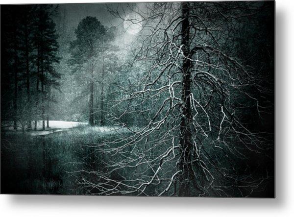 Moon Misty Lake  Metal Print by Dorothy Walker