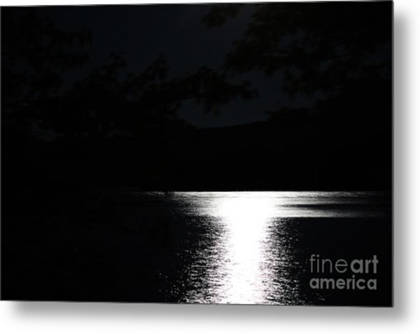 Moon On Waterton Lake Metal Print