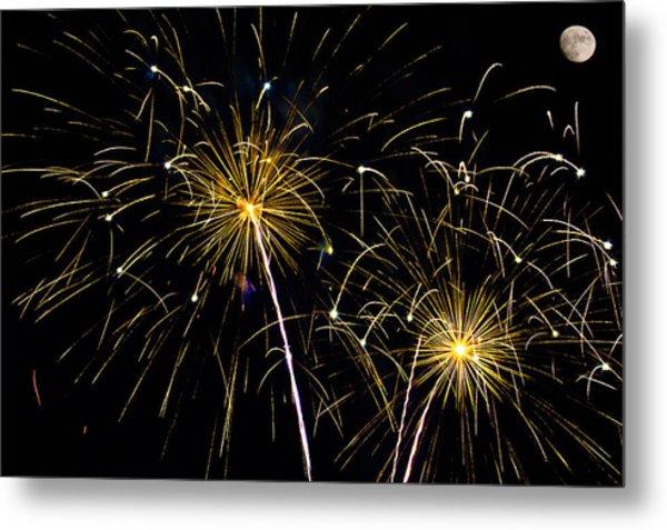 Moon Over Golden Starburst- July Fourth - Fireworks Metal Print