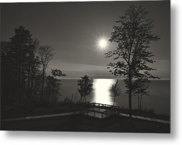 Moon Over Lake Michigan In  Black And White Metal Print