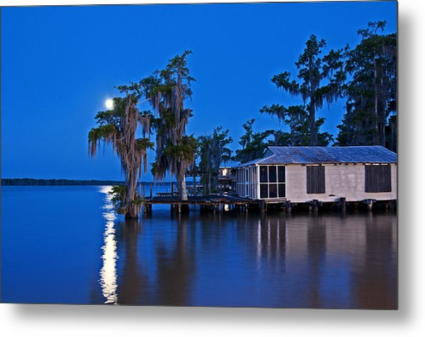 Moon Over Lake Verret Metal Print