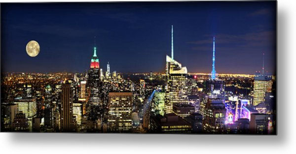 Moon Over Manhattan At Twilight Metal Print by Lee Dos Santos