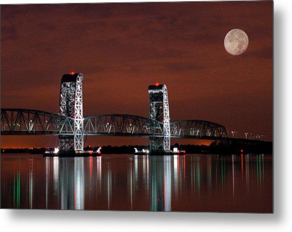 Metal Print featuring the photograph Moon Over Marine Parkway Bridge - Gil Hodges Memorial Bridge by Gary Heller