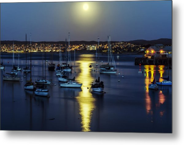 Moon Over Monterey Bay Metal Print