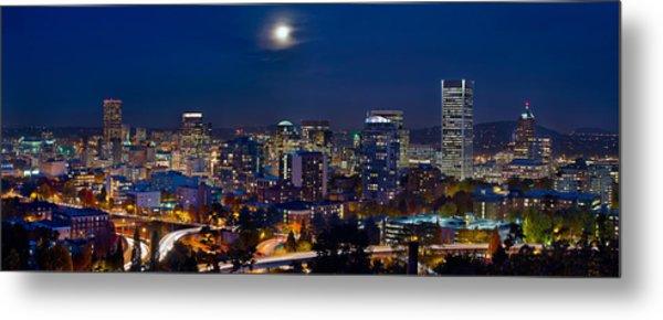 Moon Over Portland Oregon City Skyline At Blue Hour Metal Print