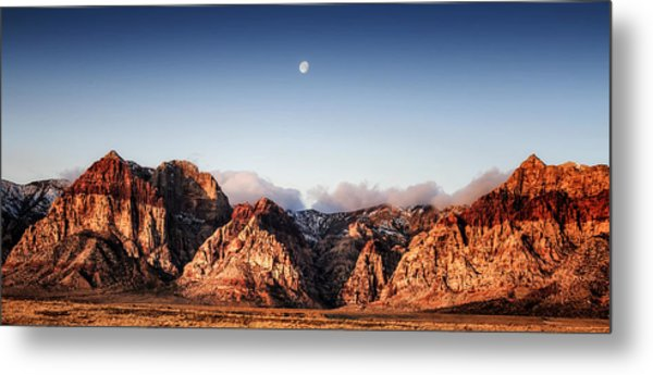 Moon Over Red Rock Canyon Metal Print