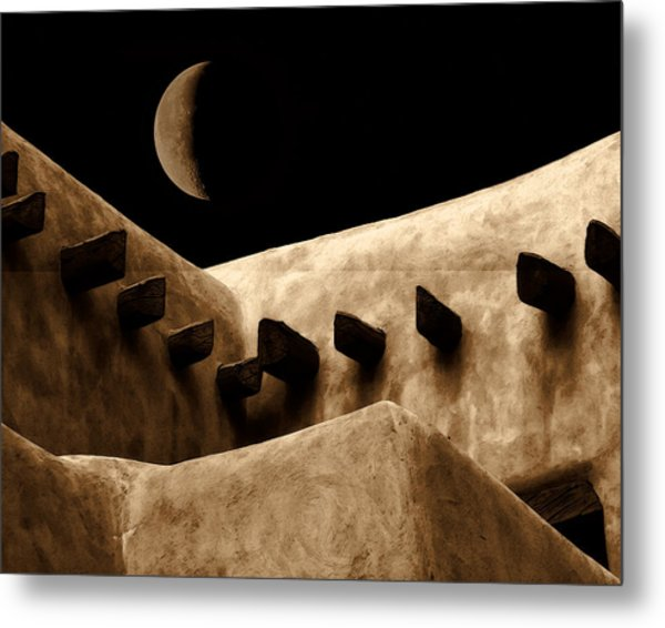 Moon Over Santa Fe Metal Print