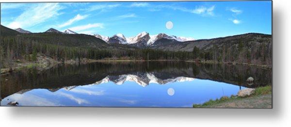 Moon Over Sprague Lake Metal Print