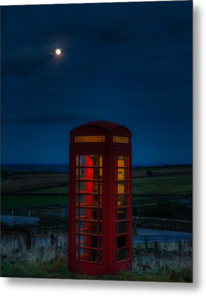 Moon Over Telephone Booth Metal Print