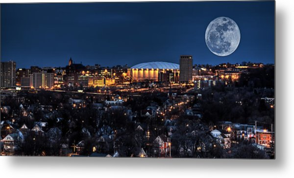 Moon Over The Carrier Dome Metal Print