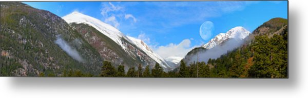 Moon Over The Rockies Metal Print