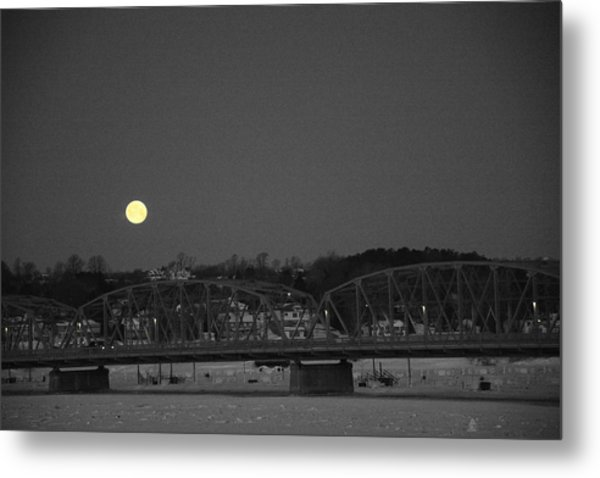 Moon Over The Steel Bridge Metal Print