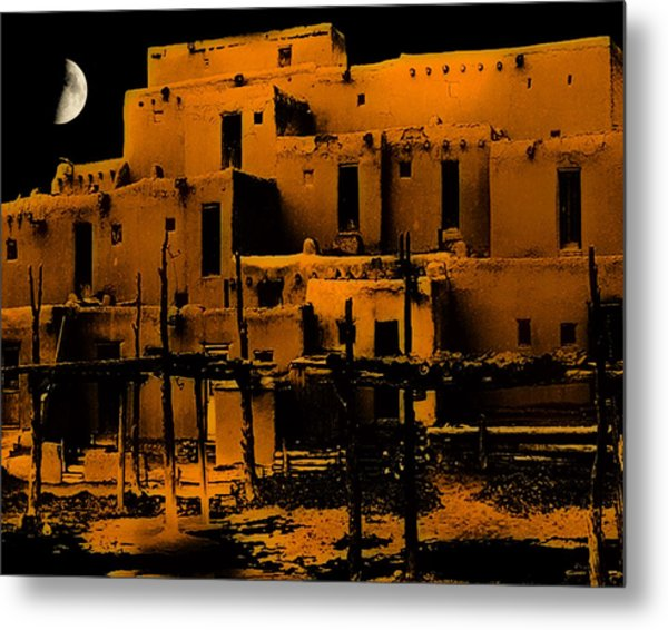 Moon Rise At The Pueblo Metal Print
