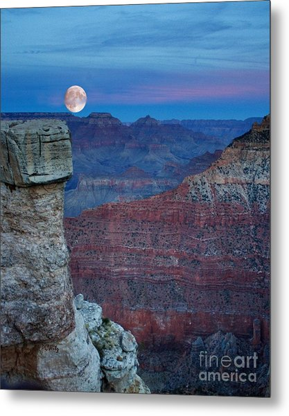 Moon Rise Grand Canyon Metal Print