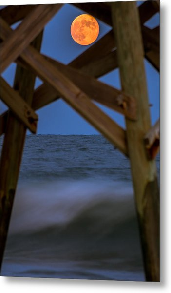 Metal Print featuring the photograph Moon Rise Under Pier by Francis Trudeau