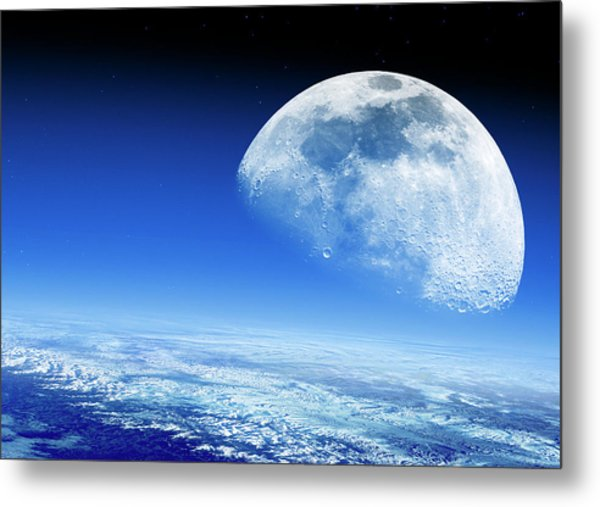 Moon Rising Over Earth's Horizon Metal Print by Detlev Van Ravenswaay