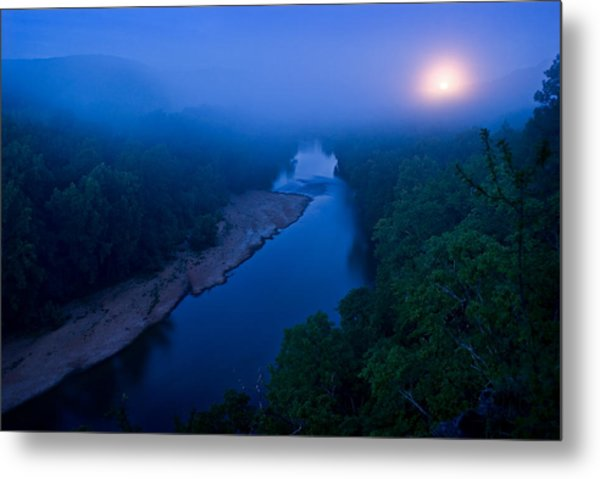 Moon Setting Over The Current River Metal Print
