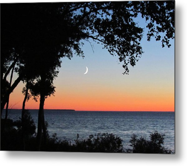 Moon Sliver At Sunset Metal Print