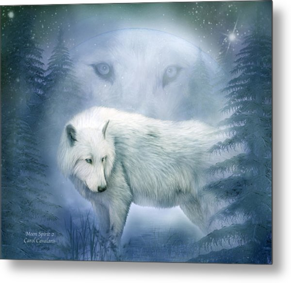 Moon Spirit 2 - White Wolf - Blue Metal Print