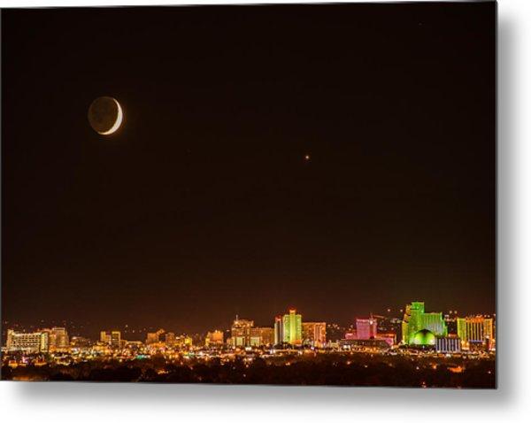 Moon-venus Over Reno Metal Print