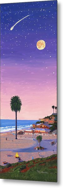 Moonlight Beach At Dusk Metal Print by Mary Helmreich