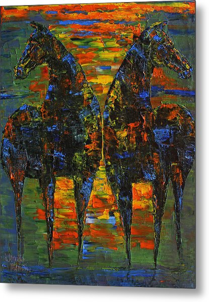 Moonlight Horses Metal Print