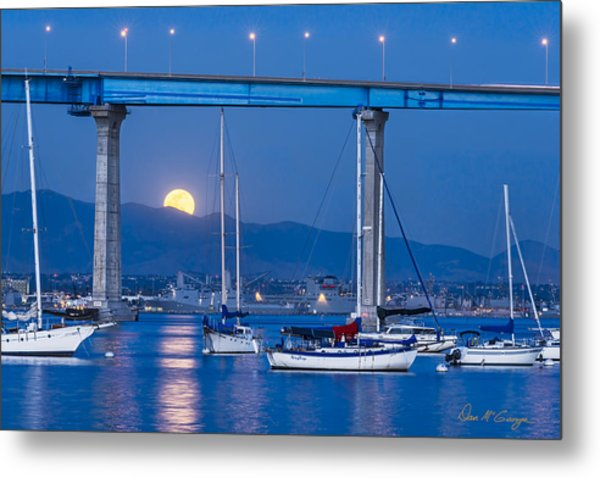 Moonlight Mooring Metal Print
