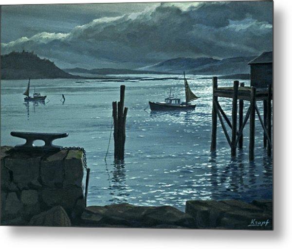 Moonlight On The Harbor Metal Print