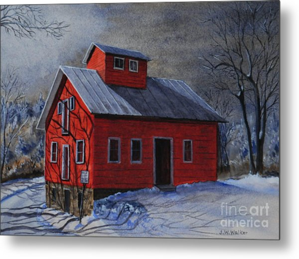 Moonlight On The Mill Metal Print