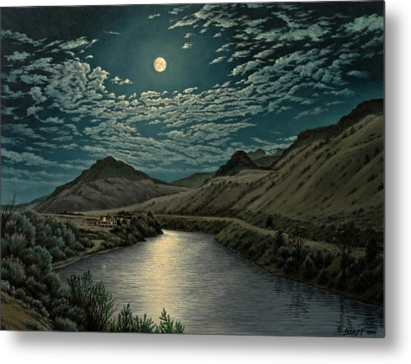 Moonlight On The Yellowstone Metal Print