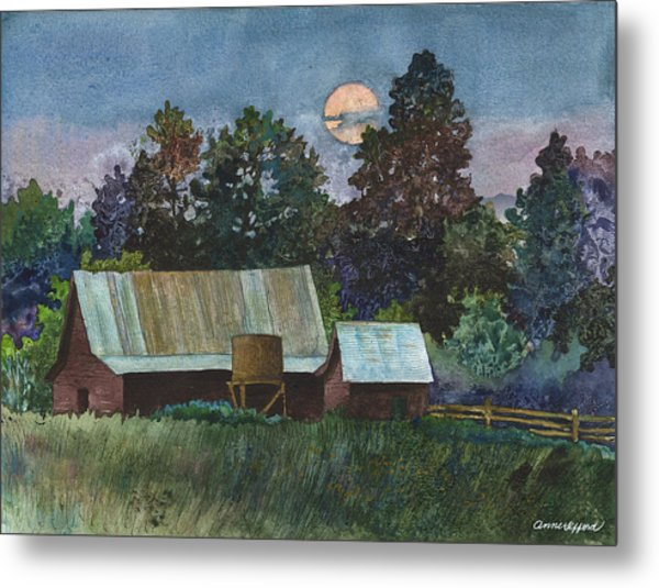 Moonlight Over Caribou Metal Print