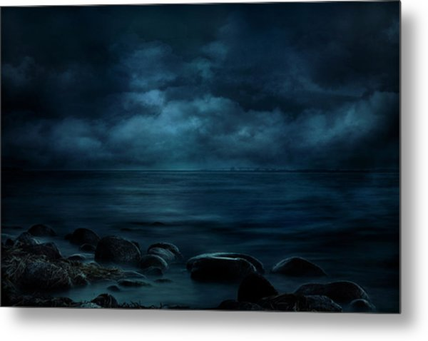 Moonlight Over Distant Shores Metal Print