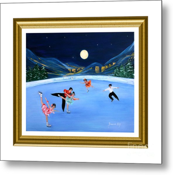 Moonlight Skating. Inspirations Collection. Card Metal Print