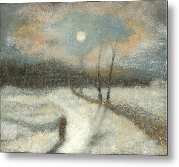 Moonlight Walk Home Metal Print
